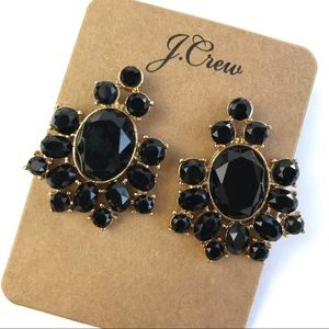Jcrew black gem floral statement earrings